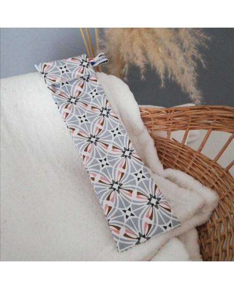 Corbeille de rangement en simili cuir et coton carré gris bleu